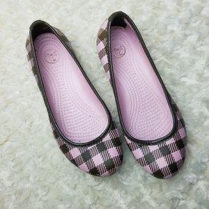CROCS Plaid Ballet Flats Pink Brown